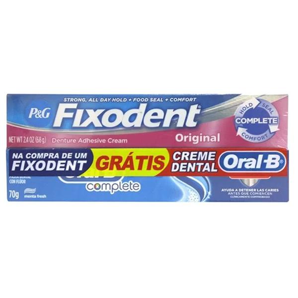 Fixodent Original com 68g + Grátis Creme Dental Oral B