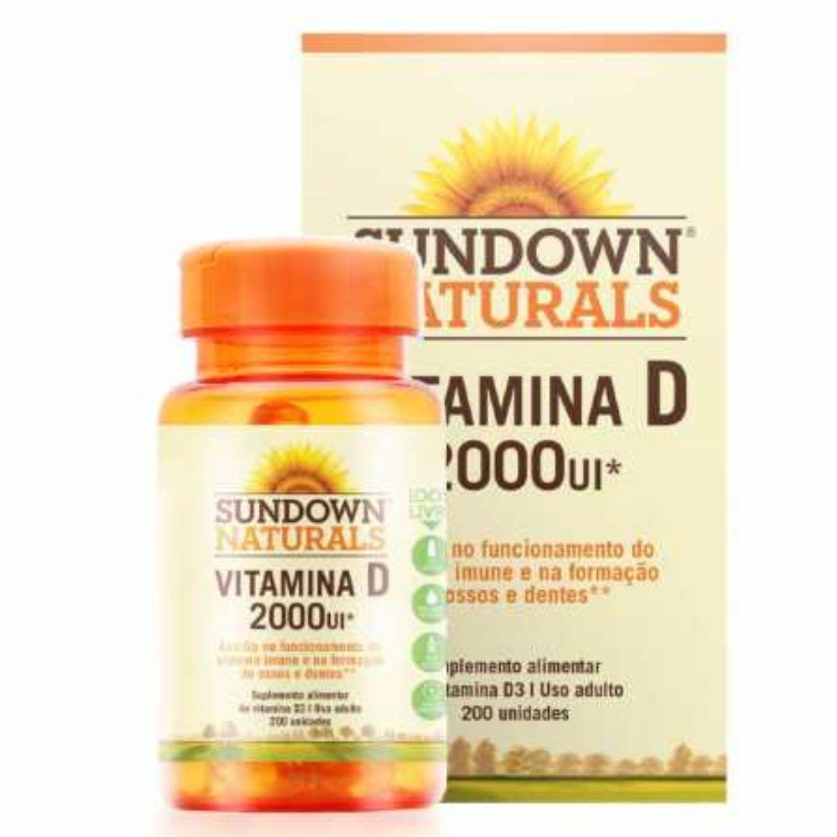 Vitamina D 2000UI Sundown com 200 cápsulas